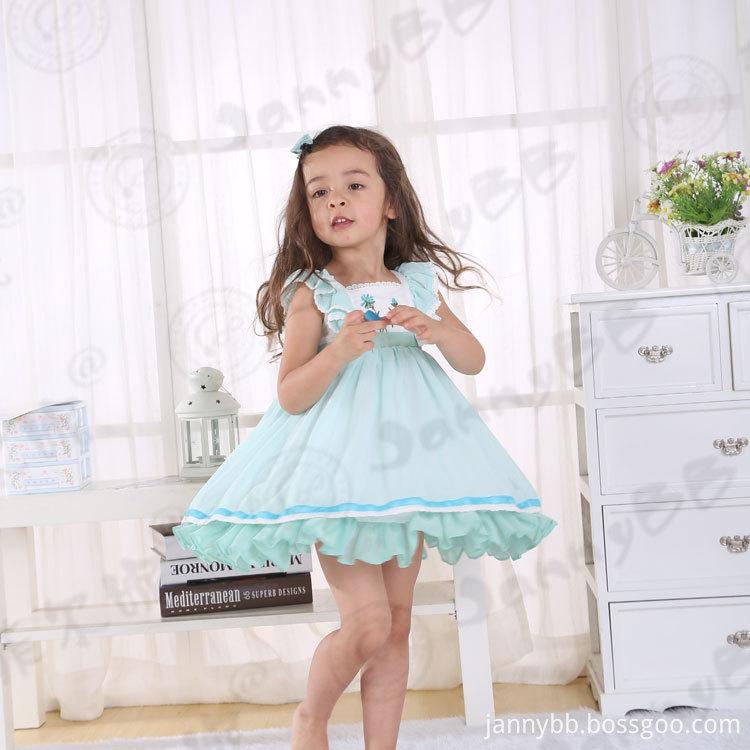 embroidery flutter sleeve dress