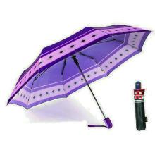 Drucken Satin 3 Falten Qualität Winddicht Regenschirme (YS-3FA22083963R)