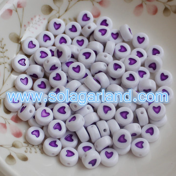 4x7MM Lovely Heart Style Coin Round Beads For Jewelry Making
