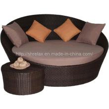 Сада ротанга смолы плетеная Патио мебель кушетка