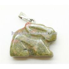 AAA Grade natural unakite rabbit pendant
