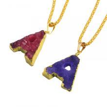 Collar de cristal colorido alfabeto letra A colgante