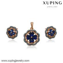 64229 xuping fashion 18k dubai wedding earring and pendant gold plated jewelry sets