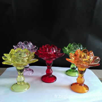 Support de bougie en verre pilier Lotus
