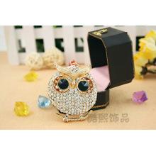 New big rhinestone Keychain crystal OWL ladies fashion jewelry pendants handbag ornaments 3D hot new key rings