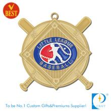 Aleación de zinc personalizada que sella la medalla de béisbol de la liga pequeña 3D en el barniz de la hornada