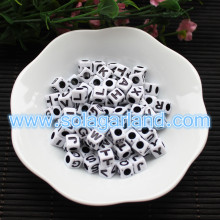 8MM Acrylic Plastic Letter Beads Cube Square Alphabet Beads Charms