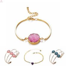 Forme encantos do bracelete do punho de Druzy das mulheres, bracelete chapeado ouro dado forma coração de Druzy