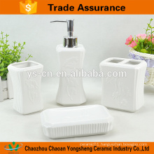 Elegant Ceramic Bath Bathroom Sets with Relief Flower