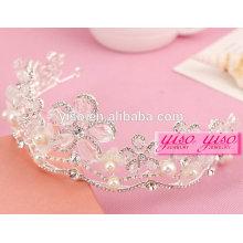 Cristal de diamante, grande flor, pérola, concurso, tiara