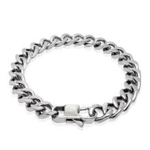 Pulseira de corrente de aço inoxidável homens pulseiras prata preto anti-alergia