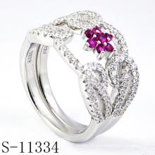 2015 el último anillo de plata de Zirconia rosa 925 (S-11334)