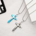 Ожерелья с подвесками в виде креста из нержавеющей стали для мужчин и женщин, простой комплект ювелирных изделий, подарки, золото, серебро, черный тон