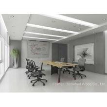 Mesa de conferência de reunião de madeira compensada oval de madeira de design elegante (HF-OFY008)