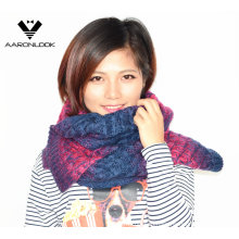 Fashionable Winter Color Change Space Dyed Knitted Scarf
