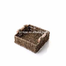 Tejido Cesto de almacenamiento Fruta Caja de almacenamiento de ratán Para Cosméticos té organizador de la cesta de picnic Trabajo manual