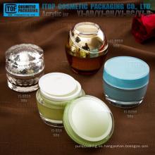Diferente estilo de 30 g y 50g venta de hot-buena calidad agradable y acrílico plástico de diseño especial alta cosmética crema tarro