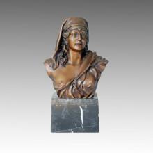 Statue en bustes Ancienne sculpture en bronze féminin TPE-056