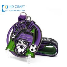 New design no minimum order custom metal black nickel plating soft enamel sports soccer club football medal