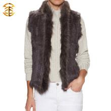 Heiße verkaufende Frauen strickende Kaninchen-Pelz-Weste mit Waschbär-Pelz-Kragen