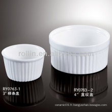 Vente en gros de Chine de bonne qualité de la soupe chinoise en porcelaine blanche