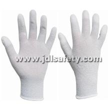 Carbon Fiber Knitted ESD Working Gloves, Finger Coated with White PU (PC8102)