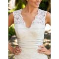 NA1030 Decent A-line V-neck Court Train Champagne Belt Appliqued Lace Bridal Wedding Dress