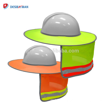 Customized Hard Hat Sun Shield,High Visibility Orange Yellow Reflective Full Brim Mesh Sun Shade Protector Summer For Workers