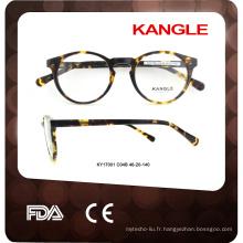 2017 lunettes rondes classiques d'acétate de cadre optique encadrent le cadre optique de verres