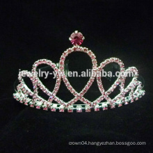 wholesale red crystal Pageant Tiara Crown With crystal for girls