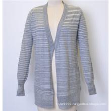 100%Cotton New Striped Long Women Knit Open Cardigan