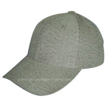 Seis paneles de impresión de gorra de béisbol de poliéster con Custom Debossed Logo
