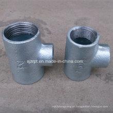 Reduzindo Plain galvanizado Tee acessórios de tubulação de ferro maleável