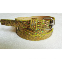 New arrival 2016 Fashion glitter lady pu belt with glittler