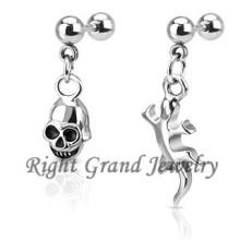 Único cráneo cuelgan Tragus Piercing joyas pendientes