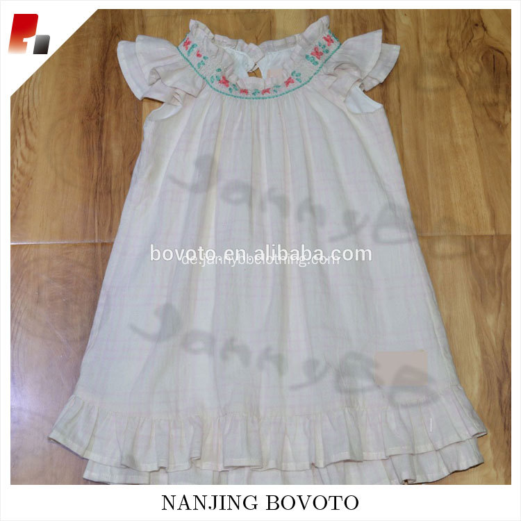 Summer smocked bishop embroidered pink dress
