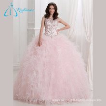Sequined Beading Crystal Ruffles Pink Quinceanera Dresses Ball Gown