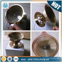 FDA-Zertifizierung Doppelschicht Mesh Titan beschichtet Gold Kaffeefilter Sieb / wiederverwendbar über Kaffee Dripper