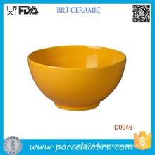Venta al por mayor Tazón de fuente de cerámica renovable amarillo