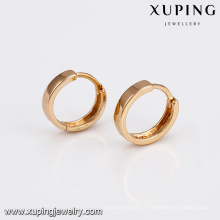 93821 En Gros plain design femmes bijoux doré en alliage de cuivre cerceau boucles d'oreilles