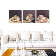 3Pieces Kaffee-kundenspezifisches Segeltuch-Ölgemälde