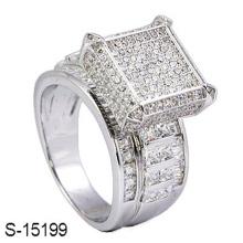 Moda jóias 925 anel de diamante de prata esterlina