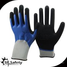 SRSAFETY синие двойные окунутые рабочие нитриловые перчатки / рабочая перчатка