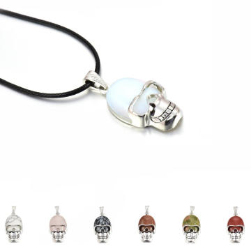 Natural Crystal Gemstone Skull Pendant 22x30MM semi precious stone Cabochon on Alloy skull