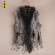 Venda por atacado Drop Knitted Short Rabbit Fur Vest Mulheres com borla com guirlanda de Raccoon