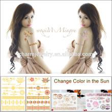 Autocollant de tatouage à changement de couleur en métal flash avec étanche pour adultes BS-8026