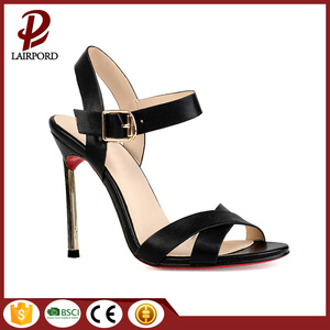 black real leather comfortable women sexy shoes