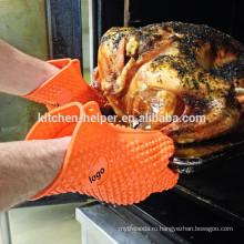 Индивидуальный дизайн Пищевой класс Силиконовые оптовые огнестойкие силиконовые перчатки / Силиконовый гриль-печь BBQ Glove / Mitt