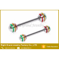 Barra de pezón de acero quirúrgico 316L con 3 anillos de pezón con bolas estriadas