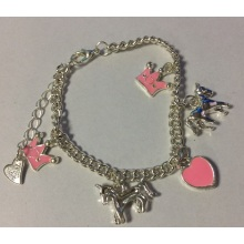 Metal Silver Anklet with Crown, Horse and Heart